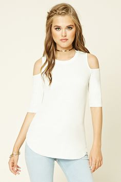 A ribbed knit top featuring open-shoulder short sleeves, a round neckline, and a curved hem.