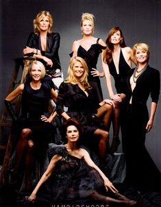 """Ageless Beauty"" – Harper's Bazaar USA April 2012.  Legendary supermodels (clockwise from top left) Patti Hansen, Nancy Donahue, Carol Alt, Kim Alexis, Dayle Haddon, Karen Bjornson, and (center) Christie Brinkley."
