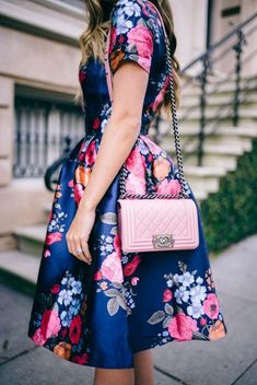 Full Skirt Floral Dress and Pink Chanel Bag