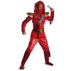 Red Fire Ninja Muscle Child Halloween Costume