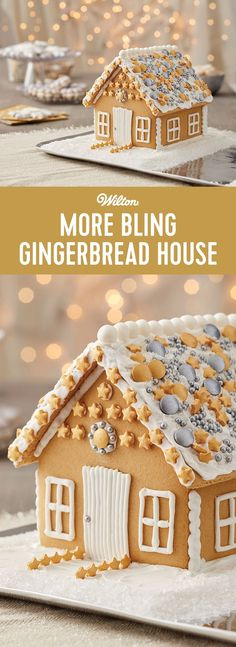 More Bling Gingerbread House - Silver and gold, shimmering stars and sparkle...this gingerbread house is covered in it! If you believe the more bling to the holidays, the better, this gingerbread house kit is for you.