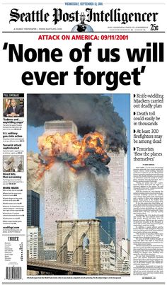 The day after the September 2001 terrorist attacks, newspapers around the world reacted by capturing sadness, shock, and horror. These are the front pages people woke up to. History Timeline, Us History, History Facts, American History, Titanic History, Modern History, Newspaper Front Pages, Newspaper Cover, Newspaper Headlines