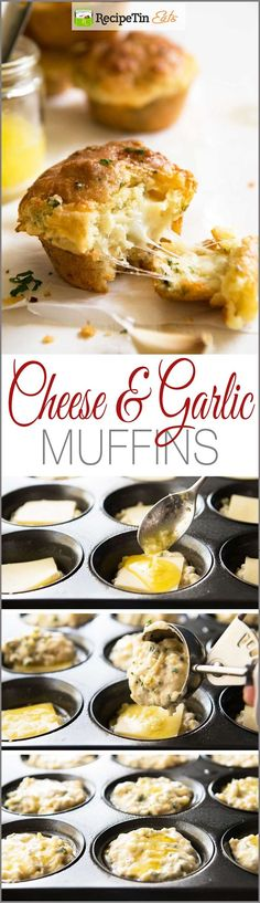 Cheese Muffins Cheese & Garlic Muffins - This is like cheesy BUTTERY garlic bread.in muffin form!Cheese & Garlic Muffins - This is like cheesy BUTTERY garlic bread.in muffin form! Muffin Tin Recipes, Bread Recipes, Cooking Recipes, Muffin Tins, Savory Muffins, Cheese Muffins, Egg Muffins, Savory Breakfast, Snacks