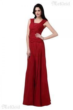 Prinzessin A-Line Reißverschluss Chiffon Quadrat Ausschnitt bodenlanges Abendkleid - Bild 1