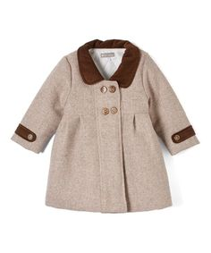Look at this Brown Wool Pea Coat - Infant, Toddler & Girls on #zulily today!