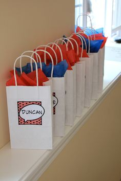 Simple and cute idea for vintage comic themed goody bags.