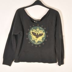 Riley cut off crop top sweater with eagle Bought at Kitson. Cute cropped cut off sweatshirt with eagle emblem and brass stu accents. Riley Sweaters