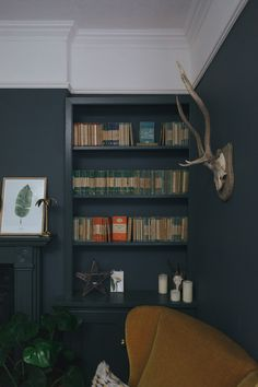 Not the animal skull. A dark and cosy snug painted in Farrow and Ball Down Pipe Farrow And Ball Living Room, Dark Living Rooms, Ikea Living Room, Living Room On A Budget, Modern Living, Snug Room, Cozy Room, Interior Design, Cosy