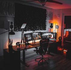 Home Studio Setup, Home Office Setup, Home Office Design, Computer Desk Setup, Gaming Room Setup, Bedroom Setup, Room Ideas Bedroom, Dream Desk, Video Game Rooms
