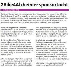 2bike4alzheimer sponsortocht