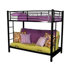 Walker Edison Futon Bunk Kids Bed - Black (twin/full)