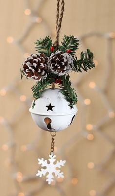 Christmas jingle-bells-decor cones and snowflakes