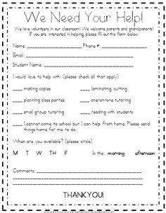 Kindergarten Korner: back to school  volunteer letter sample