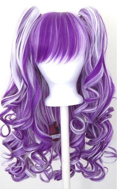 Wig 20'' Gothic Lolita  + 2 Pig Tails Set White and Purple Mixed    Special Price: $46.0