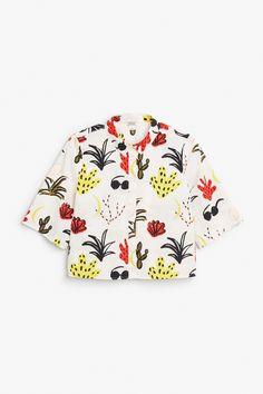 Monki Image 1 of Cropped shirt in White