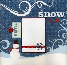12x12 Premade Winter Scrapbook Page  Snow by SusansScrapbookShack, $15.95