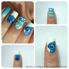 Stitch nails from Lilo and Stich Love Nails, How To Do Nails, Fun Nails, Lilo And Stich, Disney Stitch, Nail Art For Kids, Disney Nails, Cute Nail Art, Cute Nail Designs