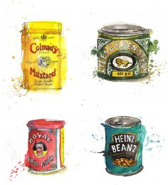 illus­tra­tions by Georgina Luck.pack­ag­ing illus­tra­tions by Georgina Luck. Georgina Luck, Retro, Food Painting, Pen And Watercolor, Food Drawing, Posca, Gcse Art, Kitchen Art, Food Illustrations