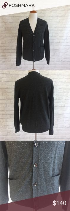 Paul Smith Cardigan 100% Wool Paul Smith cardigan sweater with two pockets in front. Grey with hints of blue and white through. Paul Smith Sweaters Cardigan