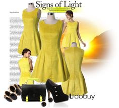 Pale yellow dress polyvore set