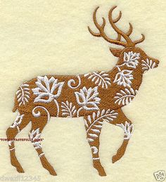 FLORAL FAUNA DEER - WILDLIFE - 2 EMBROIDERED HAND TOWELS by Susan