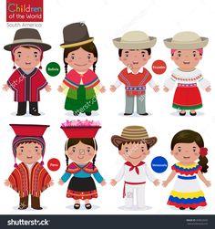 Kids In Different Traditional Costumes (Bolivia, Ecuador, Peru, Venezuela) Ilustración vectorial en stock 369822650 : Shutterstock