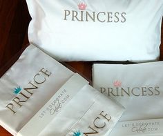 baby sheet set Prince/Princess embroidery 3pcs baby bedding by letsdecorateonline, $50.80