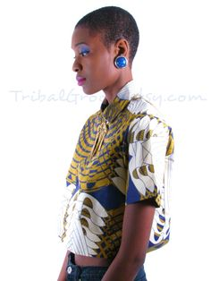 African Print Button Up Cropped ~Latest African Fashion, African Prints, African fashion styles, African clothing, Nigerian style, Ghanaian fashion, African women dresses, African Bags, African shoes, Nigerian fashion, Ankara, Kitenge, Aso okè, Kenté, brocade. ~DK