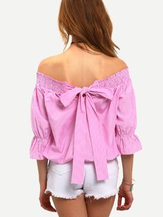 Shop Bardot Shirred Bow Tie Back Top online. SheIn offers Bardot Shirred Bow Tie Back Top & more to fit your fashionable needs.