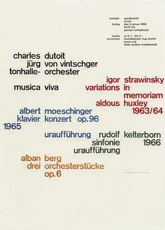 Josef Müller-Brockmann    Zurich Tonhalle musica via concert poster designed by MB 1968.