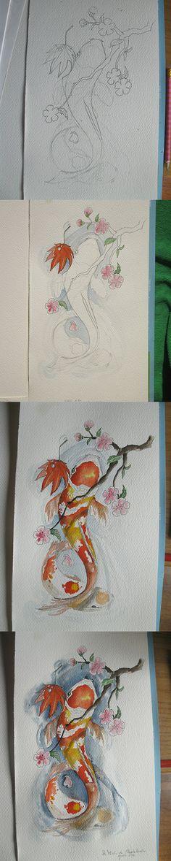 Tattoo per un Amico. Carpe Koi con fiori di ciliegio e foglia di acero giapponese