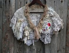 Weathered laces  bohemian shabby chic cape or by FleursBoheme