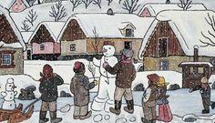 Pohlednice Josefa Lady prostě patří k Vánocům: :-). Josef Lada's Christmas cards Grandma Moses, Christmas Scenes, Christmas Snowman, Naive Art, Children's Book Illustration, Art World, Illustrators, Folk Art, Drawings