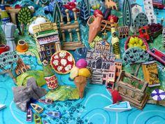 Bay of Naples map detail. Sara Drake - illustrated map of Italy - papier mache, acrylic paint, balsa wood and mixed media.