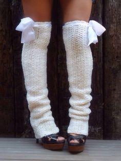 Cute white leg warmers
