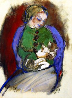 Franz Marc | Girl with cat, 1910