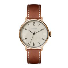 SVT-CN38 watch in white with tan leather strap by TSOVET. Available at Dezeenwatchstore.com #watches