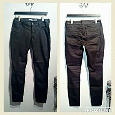 Black low rise coated jeans Brand new condition never worn. Please do not ask to model they do not fit me. These are true to size. Can fit between a 4/6. They do have stretch. Old Navy Jeans Skinny