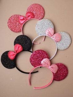 New Glitter Minnie Mouse Ears & Bow Black Pink Hen Party Fancy Dress Costume Minnie Mouse, Disfraz Minnie Mouse, Mickey Mouse Ears Headband, Minnie Mouse Party, Mickey Ears, Unicorn Headband, Diy Headband, Ear Headbands, Black Pink