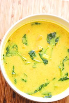 A simple, easy, healthy, and delicious sweet potato and spinach coconut milk soup. Gluten-free & vegan. #coconutmilksoup #sweetpotatosoup Chowder Recipes, Soup Recipes, Vegetarian Recipes, Healthy Recipes, Vegan Spinach Soup Recipe, Paleo Soup, Drink Recipes, Healthy Food, Cheesy Potato Soup