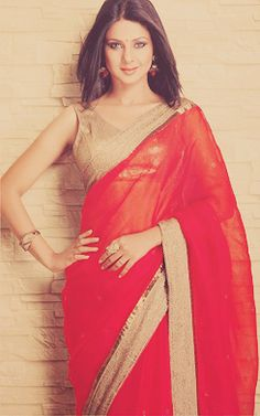 The very lovely Jennifer Winget in a seductive red sari