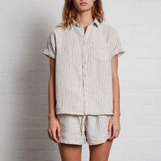 Linen Pants in Stripe Striped Pants - Linen Pants in Stripe (unisex) - IN BED Store Looks Street Style, Ralph Lauren, Pajama Shirt, Cotton Pyjamas, Striped Linen, Striped Pants, Linen Shorts, Pajamas Women, Lounge Wear