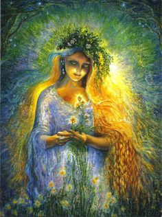 LADY GALADRIEL. The beautiful elfin lady of the forest strolls peacefully under the Mallorn  trees. As she stops to gather a star-shaped flower from the tree's roots, her face is illuminated by the flower's glow and her hair cascades over her shoulder like a golden waterfall. A myriad of stars twinkle in the skies, like multiple reflections of the magic  ring of her finger. In this most tranquil of places,she is perfectly in tune with nature. Josephine Wall