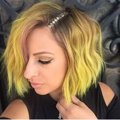 Pink and yellow hair works really well.   17 Stunning Pictures That Will Make You Want To Cut Your Hair