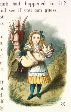 'Alice finds herself with the piglet' Illustration for the sixth chapter of Lewis Carroll's Alice in Wonderland by Sir John Tenniel, 1865 coloured and enlarged in the Nursery Alice edition of 1890