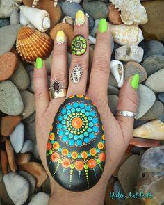 Colorfull malte Kiesel Kunst Dot Mandala Stil-natürliche Eco