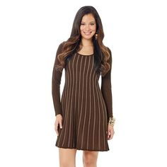 daisy fuentes® Ribbed Babydoll Sweaterdress - Women's