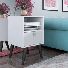 Manhattan Comfort Accenuations by Abisko Stylish Side Table with Cubby & Drawer - White Retro Bedrooms, Home Decoracion, Corner Table, Ideas Hogar, Cubbies, Open Shelving, Home Renovation, Decoration, My Room