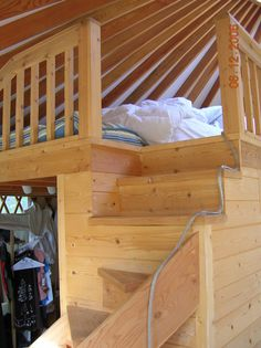 sleeping loft can double the sleeping space and leave more room for living space