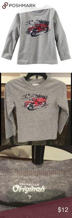 Osh Kosh boys cute fire truck shirt Long sleeve soft shirt with fire truck graphic.  Like new!  It was only worn once. OshKosh B'gosh Shirts & Tops Tees - Long Sleeve